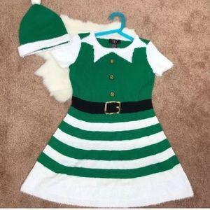 Girl Dress Sz M (10-12) & Hat Christmas Chrochet